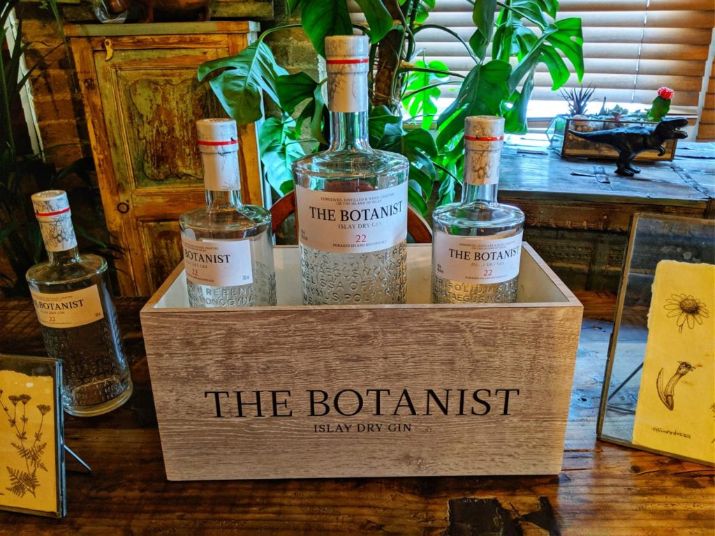 The Botanist Gin bottle on a table