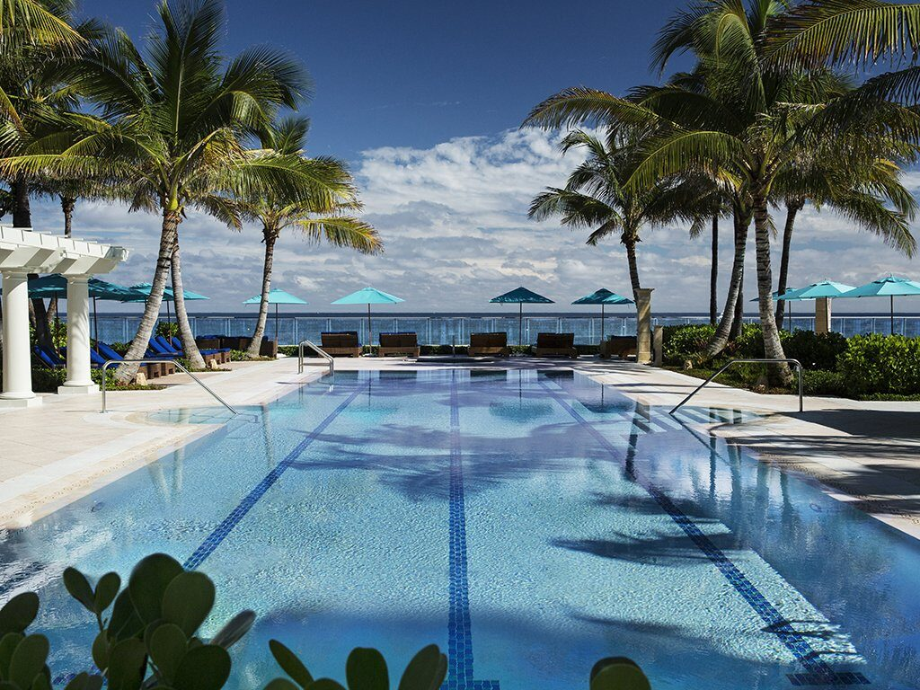The Breakers luxury hotel in palm beach view over swimming pool